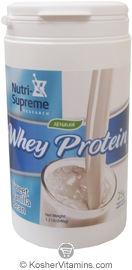 Nutri-Supreme Research Kosher Whey Protein Powder Sweet Vanilla Bean Dairy Cholov Yisroel 1.2 LB