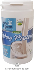Nutri-Supreme Research Kosher Whey Protein Powder with Erythritol & Stevia Sweet Vanilla Bean Dairy Cholov Yisroel 1.2 LB