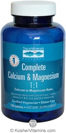 Trace Minerals Research Complete Calcium & Magnesium 1:1 Vegetarian Suitable not Certified Kosher 120 Tablets