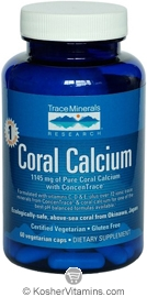 Trace Minerals Research Coral Calcium with ConcenTrace Vegetarian Suitable not Certified Kosher 60 Vegetarian Capsules