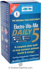 Trace Minerals Research Electro-Vita-Min Daily 5 Vegetarian Suitable not Certified Kosher 90 Tablets