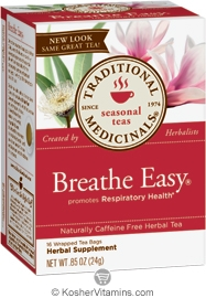 Traditional Medicinals Kosher Seasonal Breathe Easy 16 Tea Bags