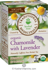Traditional Medicinals Kosher Organic Herbal Chamomile with Lavender 16 Tea Bags