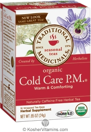 Traditional Medicinals Kosher Organic Seasonal Cold Care PM Caffeine Free 16 Tea Bags