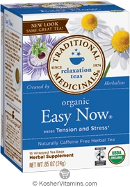 Traditional Medicinals Kosher Organic Relaxation Easy Now 16 Tea Bags