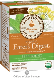 Traditional Medicinals Kosher Organic Digestive Eater's Digest Peppermint Caffeine Free 16 Tea Bags