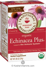 Traditional Medicinals Kosher Organic Seasonal Echinacea Plus 16 Tea Bags