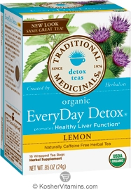 Traditional Medicinals Kosher Organic EveryDay Detox Lemon Caffeine Free 6 Pack 16 Tea Bags