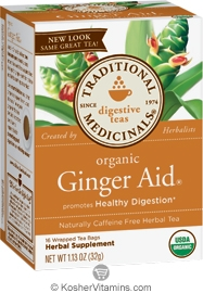Traditional Medicinals Kosher Organic Digestive Ginger Aid 16 Tea Bags