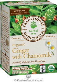 Traditional Medicinals Kosher Organic Herbal Ginger with Chamomile (formerly Golden Ginger) Caffeine Free 16 Tea Bags