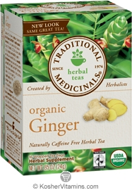Traditional Medicinals Kosher Organic Herbal Ginger 16 Tea Bags