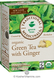 Traditional Medicinals Kosher Organic Green Tea with Ginger 16 Tea Bags