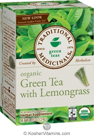 Traditional Medicinals Kosher Organic Green Tea with Lemongrass (formerly Golden Green) 16 Tea Bags