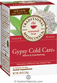 Traditional Medicinals Kosher Seasonal Gypsy Cold Care Caffeine Free 16 Tea Bags