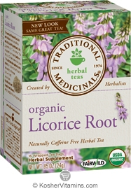 Traditional Medicinals Kosher Organic Herbal Licorice Root Caffeine Free 6 Pack 16 Tea Bags