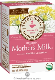 Traditional Medicinals Kosher Organic Women's Mother's Milk Caffeine Free 16 Tea Bags