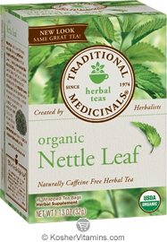 Traditional Medicinals Kosher Organic Herbal Nettle Leaf 6 Pack 16 Tea Bags