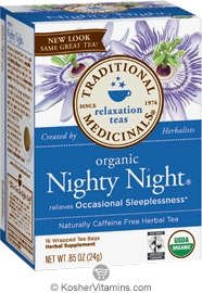 Traditional Medicinals Kosher Organic Relaxation Nighty Night Caffeine Free 16 Tea Bags