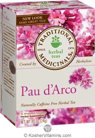 Traditional Medicinals Kosher Herbal Pau d'Arco 16 Tea Bags