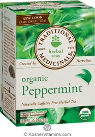 Traditional Medicinals Kosher Organic Herbal Peppermint Caffeine Free 16 Tea Bags