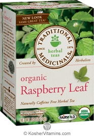 Traditional Medicinals Kosher Organic Herbal Raspberry Leaf 16 Tea Bags