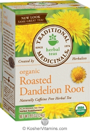 Traditional Medicinals Kosher Organic Herbal Roasted Dandelion Root 16 Tea Bags