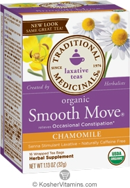 Traditional Medicinals Kosher Organic Laxative Smooth Move Chamomile 16 Tea Bags