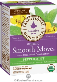 Traditional Medicinals Kosher Organic Laxative Smooth Move Peppermint 16 Tea Bags