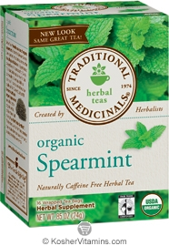 Traditional Medicinals Kosher Organic Herbal Spearmint Caffeine Free 16 Tea Bags