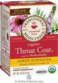 Traditional Medicinals Kosher Organic Seasonal Throat Coat Lemon Echinacea 16 Tea Bags