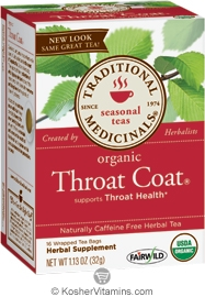 Traditional Medicinals Kosher Organic Seasonal Throat Coat 16 Tea Bags