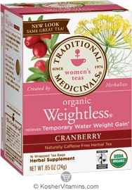 Traditional Medicinals Kosher Organic Women's Weightless Cranberry Caffeine Free 16 Tea Bags
