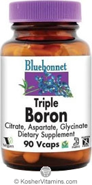 Bluebonnet Kosher Triple Boron 3 mg 90 Vegetable Capsules