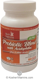 Nutri-Supreme Research Kosher Ultra Probiotic Blend with Acidophilus  60 Vegetarian Capsules