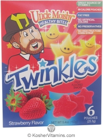 Uncle Moishy Kosher Healthy Bites Twinkles Fruit Flavored Snacks Strawberry Flavor  6 Pouches