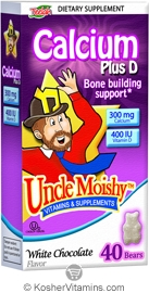 Uncle Moishy Kosher Calcium Plus Vitamin D Chewable White Chocolate Dairy Cholov Yisroel  40 Bears