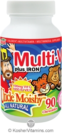 Uncle Moishy Kosher Multi-V plus Iron (Multi Vitamin/Mineral) Chewable Bubble Gum Flavor  BUY 1 GET 1 FREE  90 Chewables