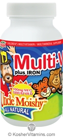 Uncle Moishy Kosher Multi-V plus Iron (Multi Vitamin/Mineral) Chewable Zingy Cherry Flavor  90 Chewables