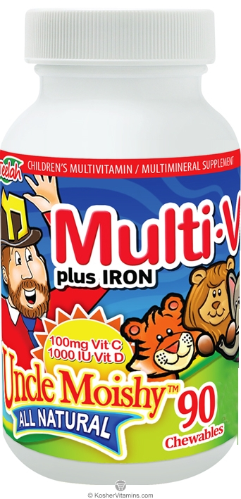 Uncle Moishy Kosher Multi-V plus Iron (Multi Vitamin/Mineral) Chewable Zingy Cherry Flavor  BUY 1 GET 1 FREE  90 Chewables