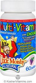 Uncle Moishy Kosher Kids Multi Vitamin & Mineral Formula with Choline Chewable Grape Flavor  60 Jellies