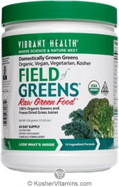 Vibrant Health Kosher Field of Greens 100% Organic Greens and Freeze Dried Grass Juices 15.02 OZ