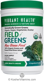 Vibrant Health Kosher Field of Greens 100% Organic Greens and Freeze Dried Grass Juices 7.51 OZ