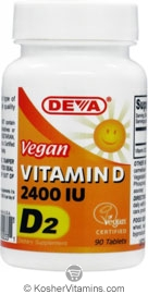 Deva Nutrition Vegan Vitamin D2 2400 IU Not Certified Kosher 90 Tablets