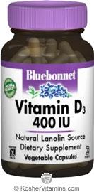 Bluebonnet Kosher Vitamin D3 400 IU 180 Vegetable Capsules