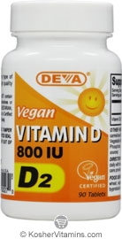 Deva Nutrition Vegan Vitamin D2 800 IU Not Certified Kosher 90  Tablets