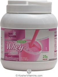 Nutri-Supreme Research Kosher Whey Protein Powder Strawberry Flavor Dairy Cholov Yisroel 2 LB