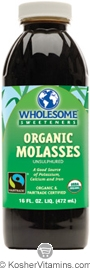 Wholesome Sweeteners Kosher Organic Molasses Unsulphured 16 OZ