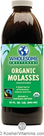 Wholesome Sweeteners Kosher Organic Molasses Unsulphured 32 OZ
