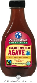Wholesome Sweeteners Kosher Organic Raw Blue Agave 23.5 OZ