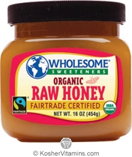 Wholesome Sweeteners Kosher Organic Raw Honey 16 OZ